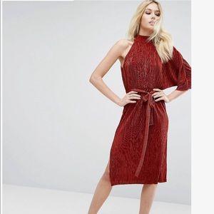 ASOS rust one shoulder mini dress